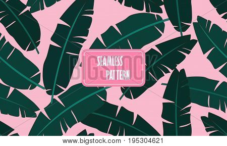 Seamless Tropical Pattern With Banana Leaves. Composition Of Green Palm Banana Leaf On A Light Pink