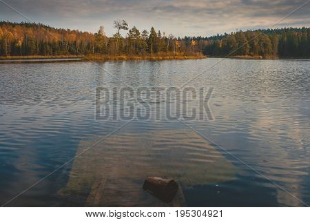 Autumn forest lake with an old sunken pier