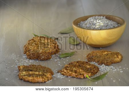 Homemade oatmeal cookies and breakfast oatmeal Fresh oatmeal cookies with milk
