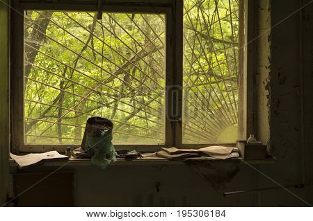 Abandoned School Classroom in Ghost City of Pripyat in Chernobyl Exclusion Zone