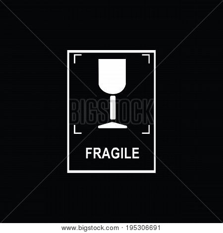 Packaging symbols (Fragile icon). Fragile cardboard black signs isolated on a black background. Stock vector illustration