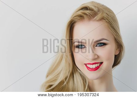 Happy Woman Smiling With Red Lips