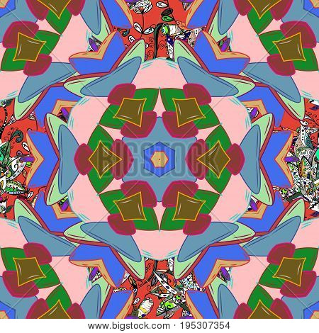 Oriental colored pattern on colorfil background. Islam Arabic Indian turkish pakistan chinese ottoman motifs. Vintage decorative elements. Vector illustration. Abstract Mandala.