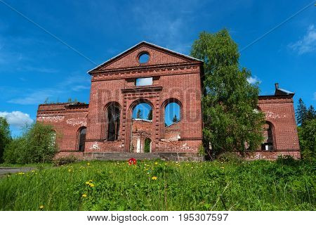 Ruins of the Lutheran Church of St. Yakkim in Lahdenpohja. Republic of Karelia, Russia. It was built in 1851. The temple could simultaneously accommodate up to 3000 thousand parishioners.