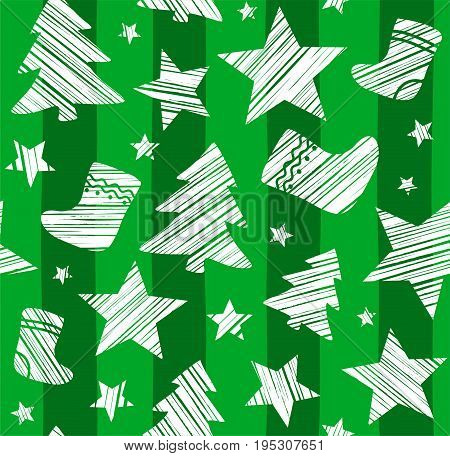Christmas background, sock, star, tree, seamless, green, vector. White Christmas trees, socks and stars are drawn with a diagonal bar on a green striped background.