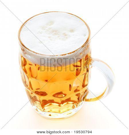 pint mug of beer on white background