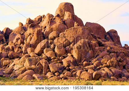 Hill of rocks taken on a barren desert landscape at the Alabama Hills in Lone Pine, CA