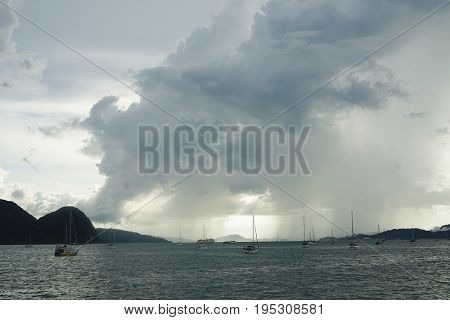 Stormy clouds over Langkawi Islands, Malaysia, Asia