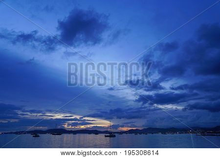 Sunset light over Langkawi Archipelago, Malaysia, Asia
