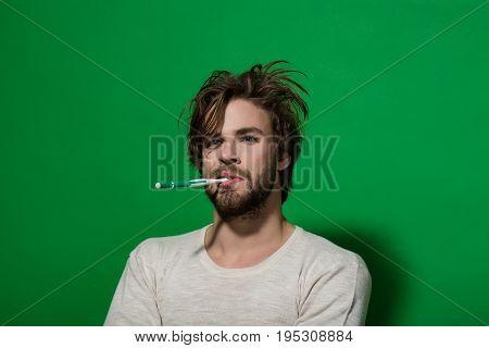 Metrosexual Man Brush Teeth With Toothpaste