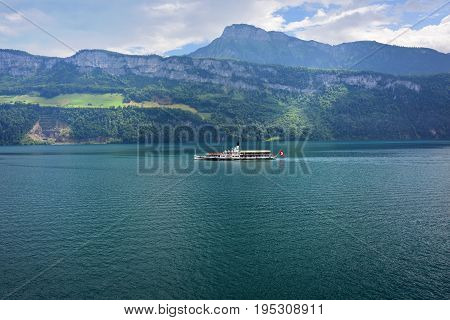 Vitznau Switzerland - June 14 2017: The steam boat