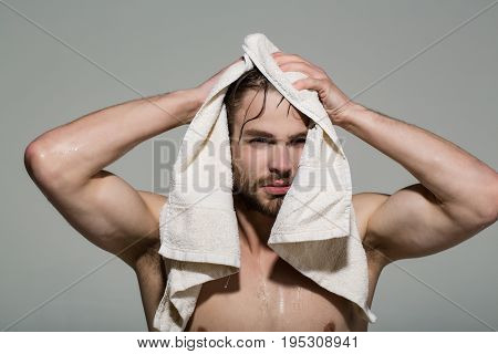 Bath Towel At Naked Man With Muscular Wet Body