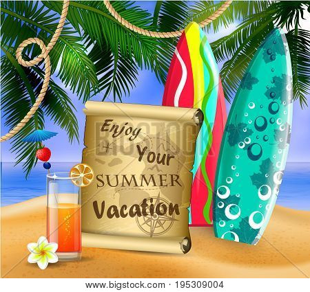 old paper for your desighn on tropical background and exotic beverage and cocnuts and surfing boards vector