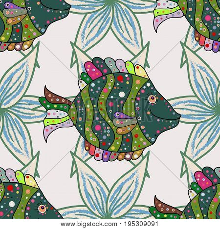 Of a seamless fish pattern in colors. Ink drawn style. Vector illustration.