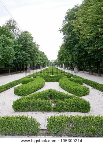 Part of garden at Retiro park in Madrid Spain.