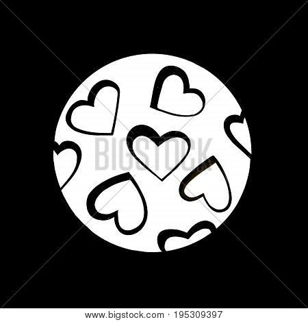 Moon with craters in the form of hearts. Original vector illustration template for Valentine's day. Fashion print.