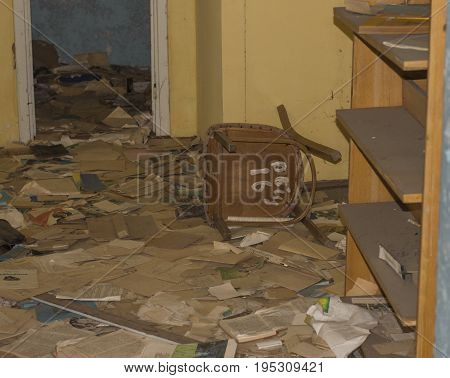 PRIPYAT, UKRAINE - JUNE 25: Abandoned school library in ghost town of Pripyat in Chernobyl Exclusion Zone