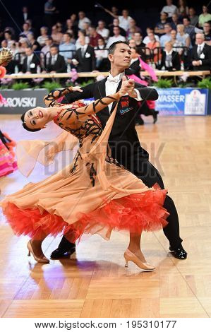 An Unidentified Dance Couple In A Dance Pose During Grand Slam Standart At German Open Championship