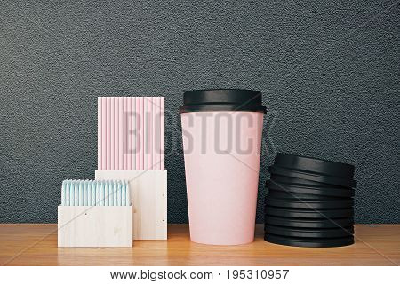 Pink Coffee Cup And Other Items
