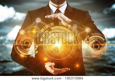 Businessman holding glowing business hologram on blurry sky background with clouds. Abstraction and network concept. 3D Rendering