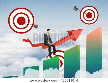 Abstract image of buisnessman sitting on red chart arrow with targets and and bars on sky background. Aiming concept. 3D Rendering