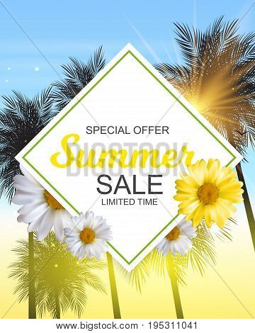 Summer Sale Banner Template for your Business. Vector Illustration EPS10