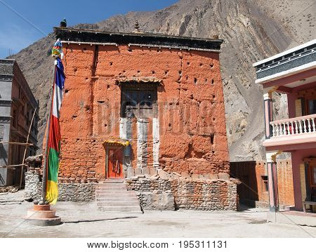 Gompa or monastery in Kagbeni Beautiful village in lower Mustang area round Annapurna circuit trekking trail Nepal