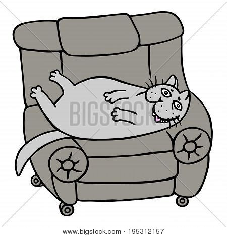 Cartoon lazy grey fat cat is lying on a armchair. Funny cool character. Vector illustration.