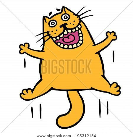 Orange cat jumping for joy. Funny cartoon cool character. Cheerful pet for web icons and shirt. Isolated vector illustration.