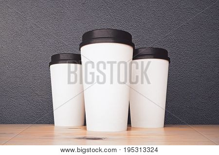 Empty White Take Out Coffee Cups