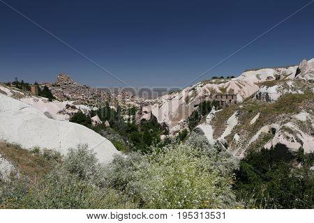 Uchisar And Pigeons Valley In Cappadocia, Turkey