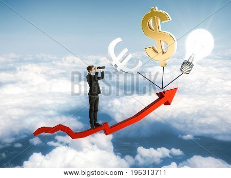 Businessman looking into the distance on red arrow with abstract dollar euro and lamp icons on sky background. Financial growth and research concept. 3D Rendering