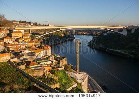 View of Douro river in Porto, Portugal.
