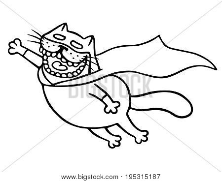 Super cat flies to the rescue. Funny cartoon cool character. Isolated vector illustration. White color background.
