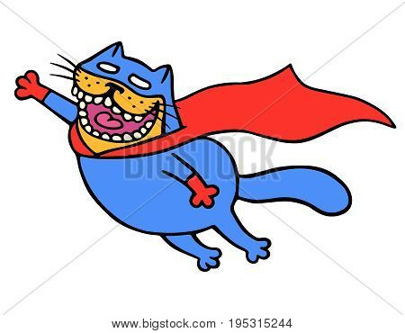 Cute super cat in a raincoat is flying to save the world. Funny cartoon cool character. White color background. Isolated vector illustration.