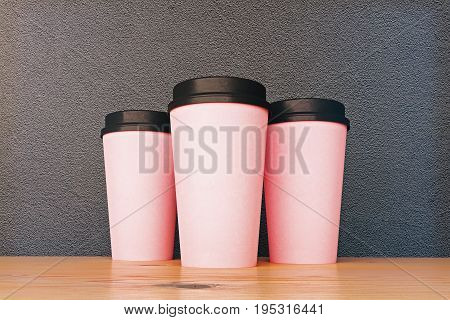 Empty Pink Take Out Coffee Cups