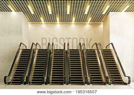 Front view of six new escalators in concrete interior with creative ceiling. Modern shopping center concept. 3D Rendering