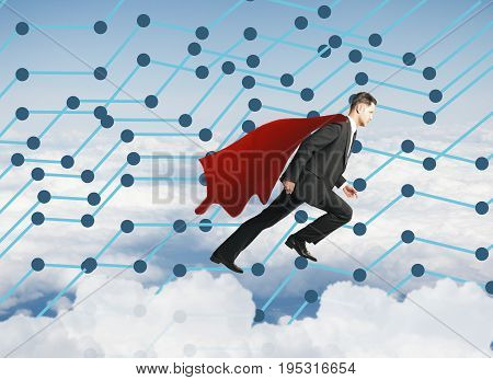 Side view of flying businessman hero on sky background with abstract connections. Winning concept