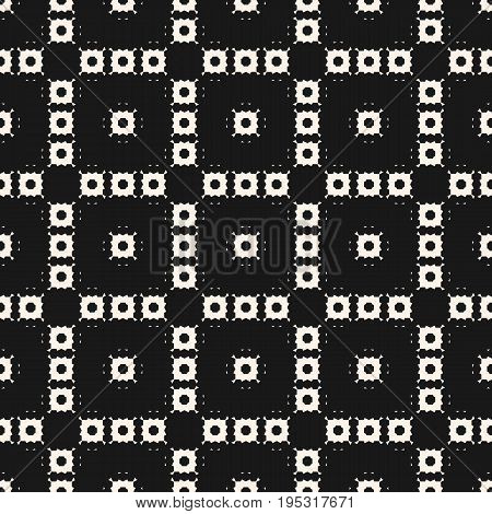 Square pattern. Vector monochrome texture. Ornamental seamless pattern with square figures, geometric floral shapes, repeat tiles. Delicate abstract background. Black design for decor, textile, covers, digital, web. Abstract squares. Abstract seamless pat