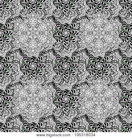 Classic vector pattern. Traditional orient ornament. Classic vintage background. Pattern on green and white background with white elements.