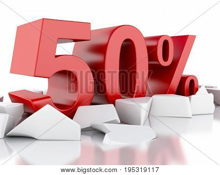 3D 50% Icon On Cracked Surface