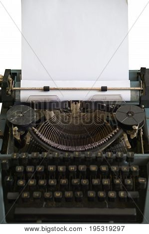 Antique Typewriter With Ribbon And Carriage