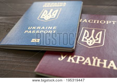 Two Versions Of Ukrainian Passport Red And Blue Documents
