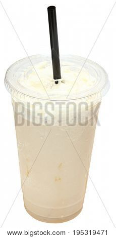 Coffee Frappe with whipped cream in plastic cup with straw.