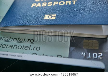 Hotel Reservation Passport And Payment Visa Credit Card