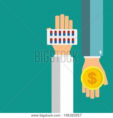 Pharmacist hold blister with pills in hands patient give money. Healthcare concept. Vector illustration.