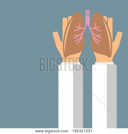 Doctor hold lungs in hands. Transplantation or treatment lungs. Healthcare concept. Vector illustration.