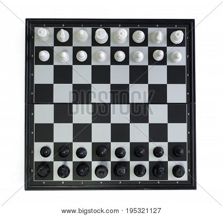 Chess top view on white background. Table game chess photo. Chess figures position for game start. Chessboard with figures. Strategic thinking concept. Competition of opposite sides. Tactic game chess