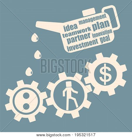 The concept of business development and investment. Oiler lubricates gear mechanism. Vector.