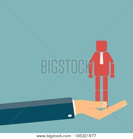 Recruitment and promotion at work concept. Hand giving a man figure. Human resource management employment. Flat vector illustration.